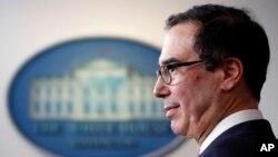 Le secrétaire au Trésor Steven Mnuchin parle du coronavirus dans la salle de presse James Brady de la Maison Blanche, le jeudi 2 avril 2020, à Washington. (Photo AP / Alex Brandon)