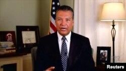 Le secrétaire d'État de Californie, Alex Padilla, s'exprime par vidéo lors de la Convention nationale démocrate de 2020, le 20 août 2020.