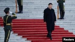 中國國家主席習近平抵達人民大會堂參加儀式。 (2019年10月25日)