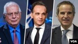 از راست: رافائل گروسی مدیرکل آژانس بین المللی انرژی اتمی، هایکو ماس وزیر خارجه آلمان و جوزپ بورل مسئول سیاست خارجی اتحادیه اروپا