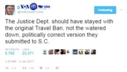 Manchetes Americanas 5 Junho 2017: Trump quer re-editar proibição a viajantes de anises muçulmanos