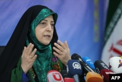 Vice President of Iran for Women and Family Affairs, Masoumeh Ebtekar, speaks to reporters during a press conference in Tehran on Jan. 29, 2019.