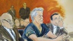 چهرهنگاری از اپستین و وکلایش در دادگاه