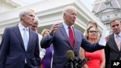 조 바이든 미국 대통령이 24일 양당 상원의원들과의 기자회견에서 인프라 예산 협상 타결을 발표했다.