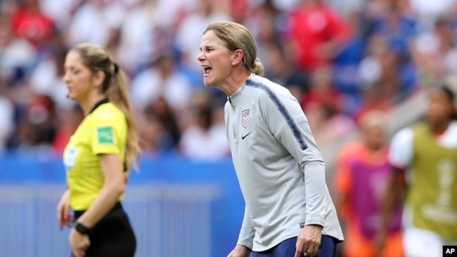 United States coach Jill Ellis shouts instructions during the Women's World Cup final soccer match between US and The Netherlands at the Stade de Lyon in Decines, outside Lyon, France, July 7, 2019.