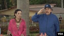 El presidente de Nicaragua, Daniel Ortega, junto a su esposa y vicepresidenta Rosario Murillo. Foto Daliana Ocaña, VOA.