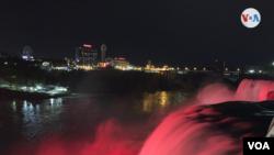 Cataratas del Niágara, espectáculo nocturno de luces, el viernes 14 de mayo de 2021.