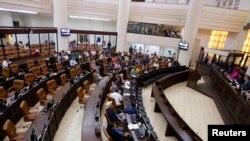 Una vista general de la Asamblea Nacional de Nicaragua en una sesión legislativa del 28 de enero de 2014.