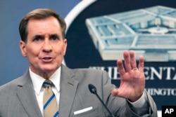 Pentagon spokesman John Kirby speaks during a briefing at the Pentagon in Washington, July 6, 2021.