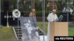 Pope Francis speaks during his visit to the Atomic Bomb Hypocenter Park in Nagasaki, Japan, November 24, 2019. Vatican Media/­Handout via REUTERS ATTENTION EDITORS - THIS IMAGE WAS PROVIDED BY A THIRD PARTY.
