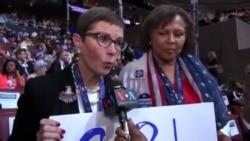 ہیلری کلنٹن کی نامزدگی کے بعد کنونشن میں شریک خواتین کے تاثرات