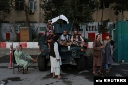 Taliban soldiers are seen at one of the main city squares of Kabul, Afghanistan, Sept. 1, 2021. (West Asia News Agency)