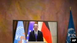 Director General of the World Health Organization Tedros Adhanom Ghebreyesus attends a virtual joint news conference with German President Frank-Walter Steinmeier at Bellevue Palace in Berlin, Germany, Monday, Feb. 22, 2021. (AP Photo/Markus…