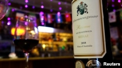 FILE - A bottle of Australian wine is pictured at the Ossie Bar and Restaurant, in Beijing, China, Aug. 18, 2020.