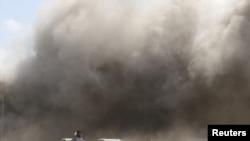 Milipuko iliyotokea uwanja wa ndege wa Aden, Yemen, Disemba. 30, 2020.