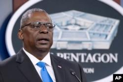 FILE - Defense Secretary Lloyd Austin speaks at a press briefing at the Pentagon, July 21, 2021.