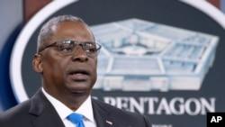 FILE - Defense Secretary Lloyd Austin speaks at a press briefing at the Pentagon in Arlington, Va., July 21, 2021.