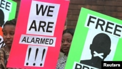 FILE - Protestors for press freedom hold placards outside the Harare Magistrate's Court.
