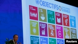 United Nations Secretary-General Ban Ki-Moon addresses the Annual Conference of Swiss Developement Cooperation in Zurich, Switzerland January 22, 2016. On the screen behind are displayed the 17 goals of UN's 2030 Agenda for Sustainable Development. …
