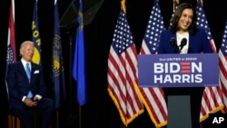 Sen. Kamala Harris speaks after Democratic presidential candidate former Vice President Joe Biden introduced her as his running mate during a campaign event in Wilmington, Del., Aug. 12, 2020.