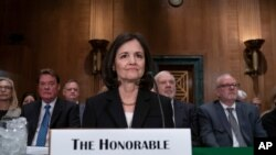 FILE - In this Feb. 13, 2020 file photo, President Donald Trump's nominee to the Federal Reserve, Judy Shelton, appears before the Senate Banking Committee for a confirmation hearing, on Capitol Hill in Washington.