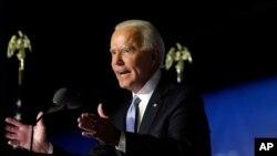 El presidente electo Joe Biden habla Wilmington, Delaware. Noviembre 7, 2020.