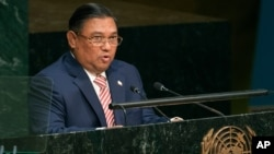 Myanmar's Foreign Affairs Minister Wunna Maung Lwin addresses the 70th session of the United Nations General Assembly at U.N. headquarters on Friday, Oct. 2, 2015. (AP Photo/Craig Ruttle)