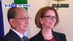 Nhà lãnh đạo Miến Điện đầu tiên đến thăm Australia (VOA60)