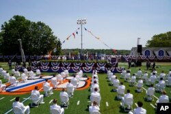 President Joe Biden speaks at commencement at the U.S. Coast Guard Academy in New London, Conn., May 19, 2021.