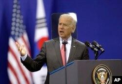 지난 2013년 12월 한국 서울을 방문한 조 바이든 부통령이 연세대학교에서 미국의 대 아시아 정책에 관해 연설했다.