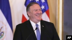 FILE - U.S. Secretary of State Mike Pompeo reacts at the Presidential House in San Salvador, El Salvador, July 21, 2019.
