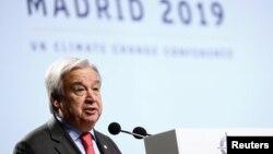 Sekretaris Jenderal PBB Antonio Guterres membuka konferensi perubahan iklim (COP25) di Madrid, Spanyol (2/12).