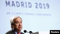 Le Secrétaire général des Nations Unies, Antonio Guterres, à la Conférence des Nations Unies sur les changements climatiques (COP25) à Madrid, en Espagne, le 2 décembre 2019.