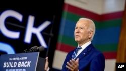 រូបឯកសារ៖ បេក្ខជនប្រធានាធិបតីអាមេរិកពីគណបក្សប្រជាធិបតេយ្យលោក Joe Biden ថ្លែងអំឡុងពេលយុទ្ធនាការឃោសនាមួយនៅក្រុង New Castle រដ្ឋ Delaware កាលពីថ្ងៃទី២១ ខែកក្កដា ឆ្នាំ២០២០។