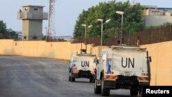 Veículos da ONU em Naqoura junto à fronteira libanesa-israelita 29, Outubro 2020 (arquivo)