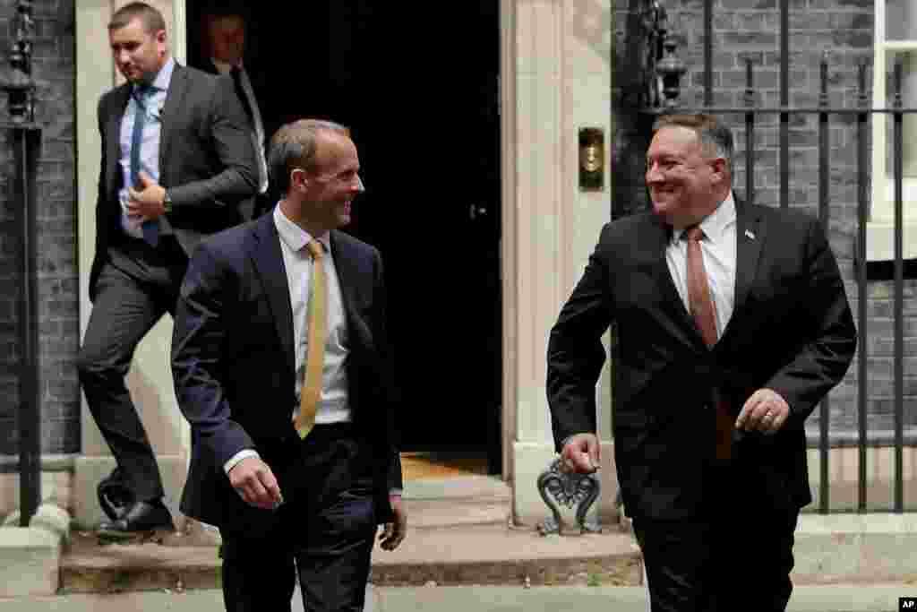 آقای پمپئو که به لندن سفر کرده با همتای خود، وزیر خارجه بریتانیا و همچنین نخست وزیر این کشور دیدار کرد.