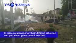 VOA60 Africa - Nigeria: Citizens displaced as a result of attacks by Boko Haram protest in the streets of Maiduguri