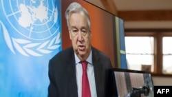 Sekjen PBB Antonio Guterres memberikan konferensi pers secara virtual (foto: ilustrasi).