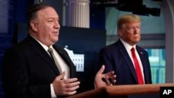 Ngoại trưởng Mỹ Mike Pompeo trong một sự kiện ở Nhà Trắng với Tổng thống Trump.