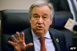 FILE - U.N. Secretary-General Antonio Guterres speaks during a press conference at the African Union headquarters in Addis Ababa, Ethiopia, Feb. 8, 2020.