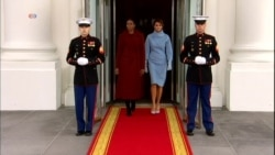 First Lady Michelle Obama and Melania Trump Departure White House