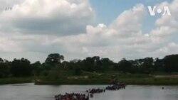 Images de drones de migrants entrant au Mexique par la rivière Suchiate (vidéo)