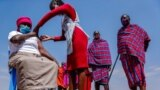 Maasai men line up to receive the AstraZeneca coronavirus vaccine as a woman receives a jab at a clinic in Kimana, southern Kenya, Aug. 28, 2021.