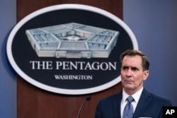 FILE - Pentagon spokesman John Kirby speaks to reporters Feb. 17, 2021.