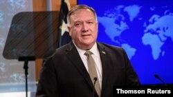 El secretario de Estado de EE.UU., Mike Pompeo, en una conferencia de prensa en el Departamento de Estado, el 2 de septiembre de 2020.