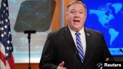 Ngoại trưởng Mike Pompeo trong một buổi họp báo về COVID-19 tại Bộ Ngoại giao Hoa Kỳ.