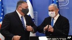 24 Ağustos 2020 - ABD Dışişleri Bakanı Mike Pompeo İsrail ziyaretinde İsrail Başbakanı Benyamin Netanyahu ile birlikte