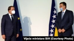 Bosnia and Herzegovina -- European Commissioner for Neighbourhood and Enlargement Oliver Varhelyi and Chairman of Council of Ministers of Bosnia and Herzegovina Zoran Tegeltija, in Sarajevo, October 9, 2020.