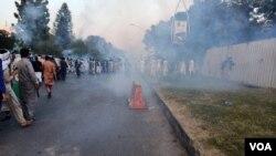 اسلام آباد میں مظاہرین کو منتشر کرنے کے لیے آنسو گیس کا استعمال، 30 اکتوبر 2020