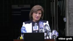 Martha Marcera, vicefiscal general colombiana, en rueda de prensa. Foto: captura de video de la Fiscalía de Colombia.